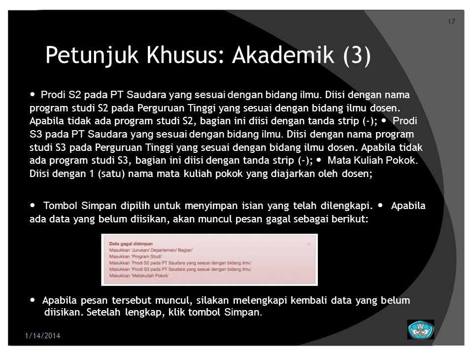 Petunjuk Khusus: Akademik (3)