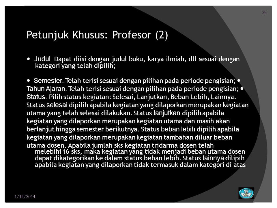 Petunjuk Khusus: Profesor (2)