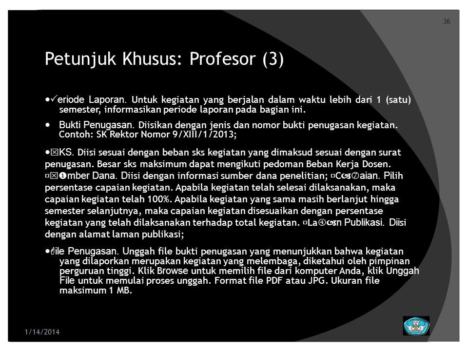 Petunjuk Khusus: Profesor (3)