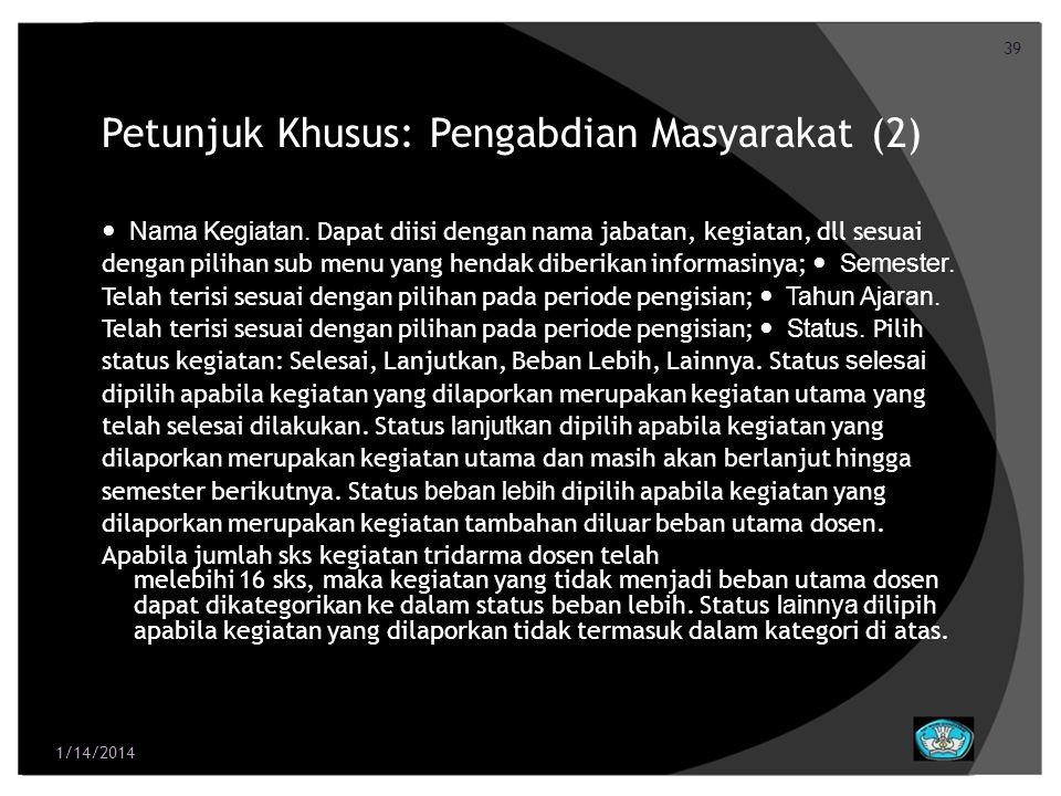 Petunjuk Khusus: Pengabdian Masyarakat (2)