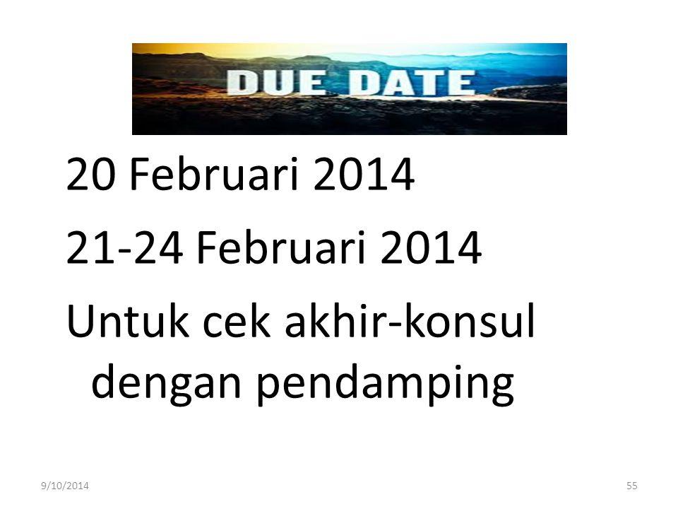20 Februari 2014 21-24 Februari 2014 Untuk cek akhir-konsul dengan pendamping