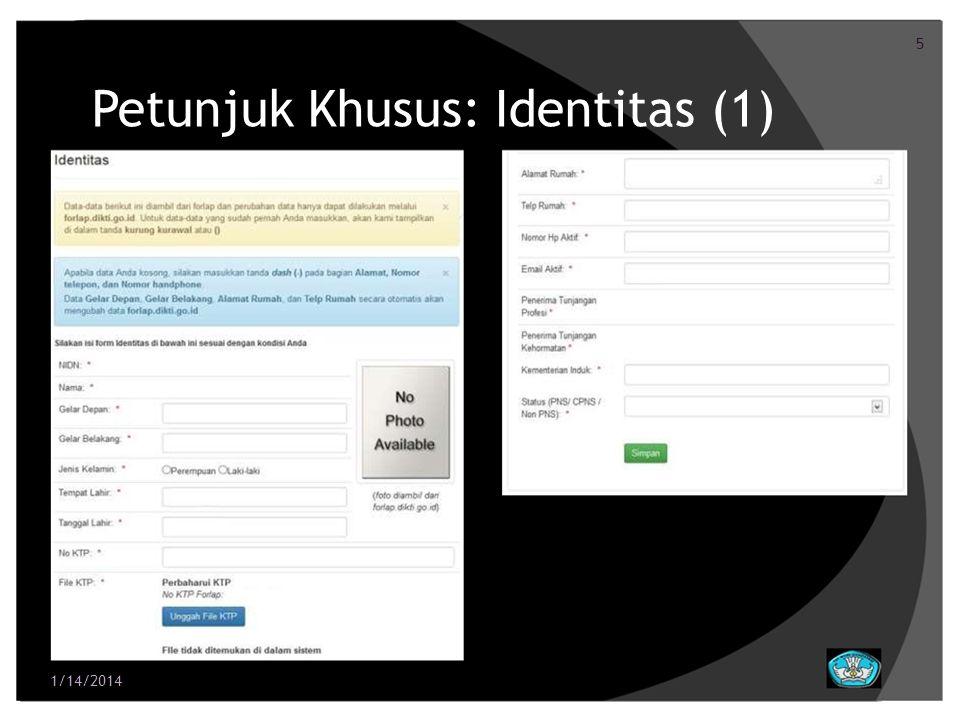 Petunjuk Khusus: Identitas (1)