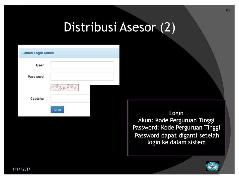 Distribusi Asesor (2) Login Akun: Kode Perguruan Tinggi