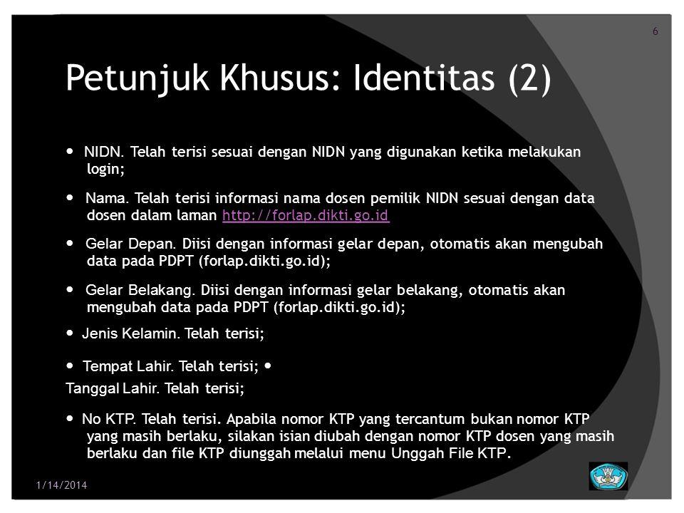 Petunjuk Khusus: Identitas (2)