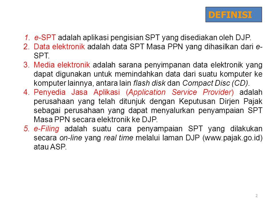 DEFINISI e-SPT adalah aplikasi pengisian SPT yang disediakan oleh DJP.