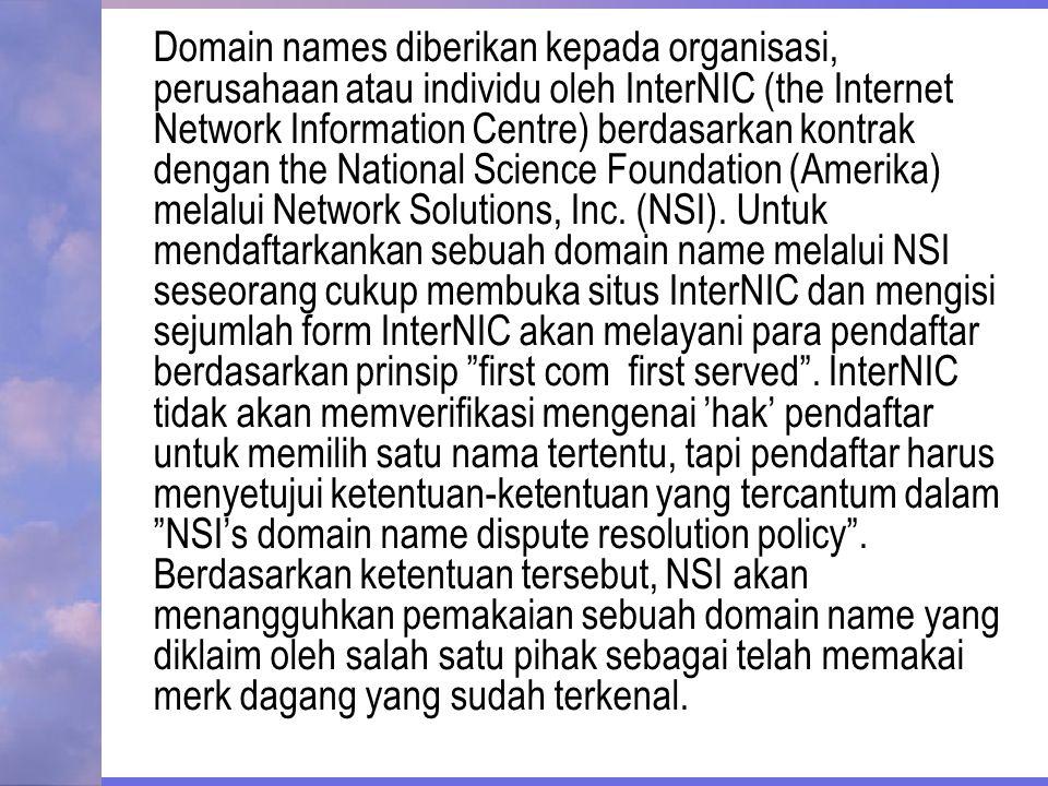 Domain names diberikan kepada organisasi, perusahaan atau individu oleh InterNIC (the Internet Network Information Centre) berdasarkan kontrak dengan the National Science Foundation (Amerika) melalui Network Solutions, Inc.
