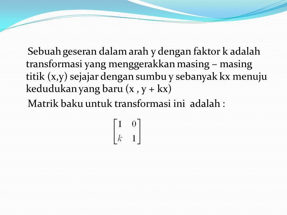 Sebuah geseran dalam arah y dengan faktor k adalah transformasi yang menggerakkan masing – masing titik (x,y) sejajar dengan sumbu y sebanyak kx menuju kedudukan yang baru (x , y + kx) Matrik baku untuk transformasi ini adalah :
