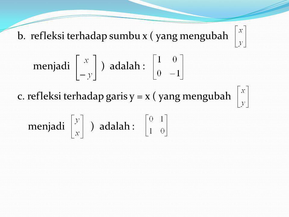 b. refleksi terhadap sumbu x ( yang mengubah menjadi ) adalah : c