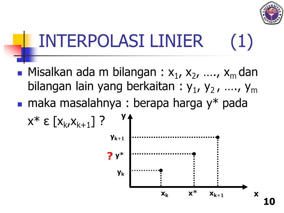 INTERPOLASI LINIER (1) Misalkan ada m bilangan : x1, x2, …., xm dan bilangan lain yang berkaitan : y1, y2 , …., ym.