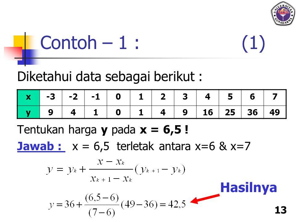 Contoh – 1 : (1) Diketahui data sebagai berikut : Hasilnya