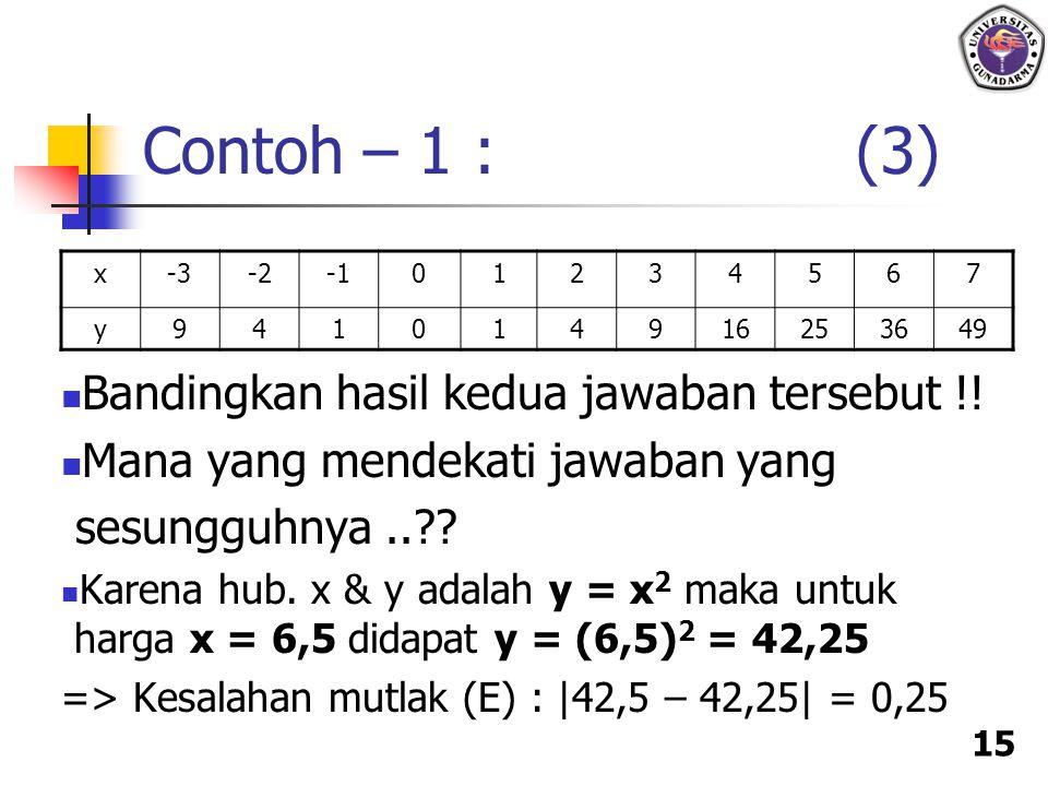 Contoh – 1 : (3) Bandingkan hasil kedua jawaban tersebut !!