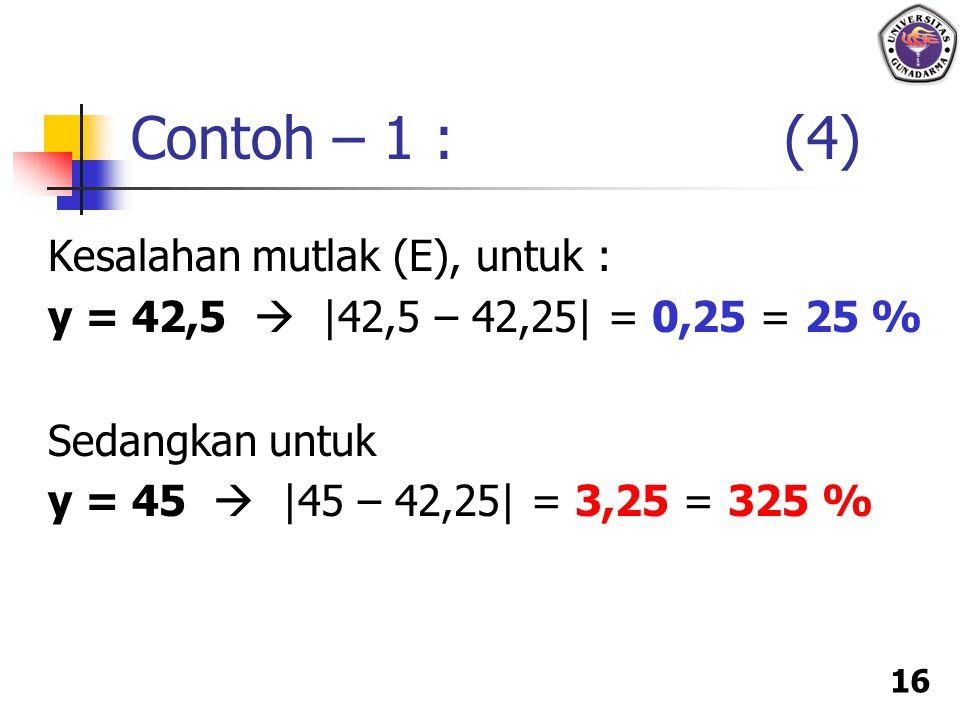 Contoh – 1 : (4) Kesalahan mutlak (E), untuk :
