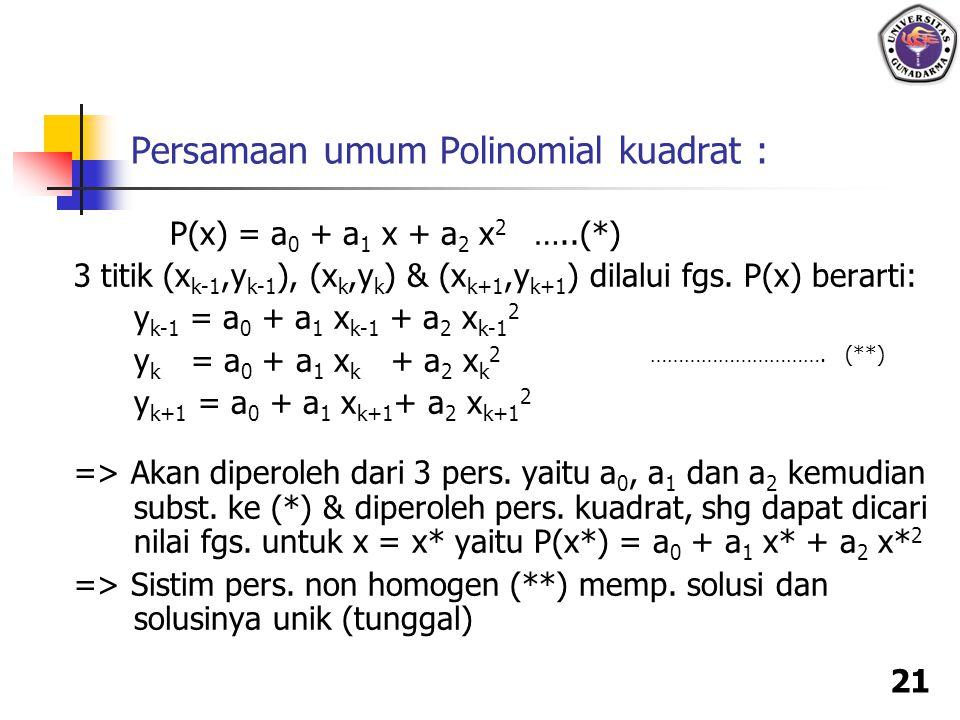 Persamaan umum Polinomial kuadrat :