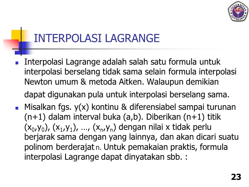 INTERPOLASI LAGRANGE