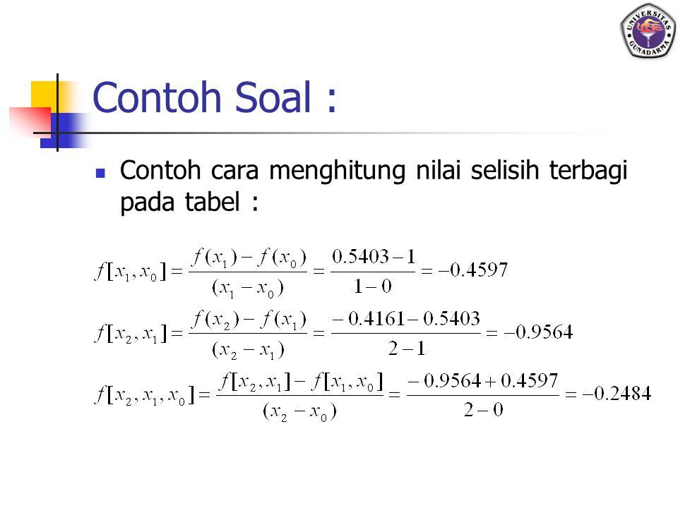 Contoh Soal : Contoh cara menghitung nilai selisih terbagi pada tabel :