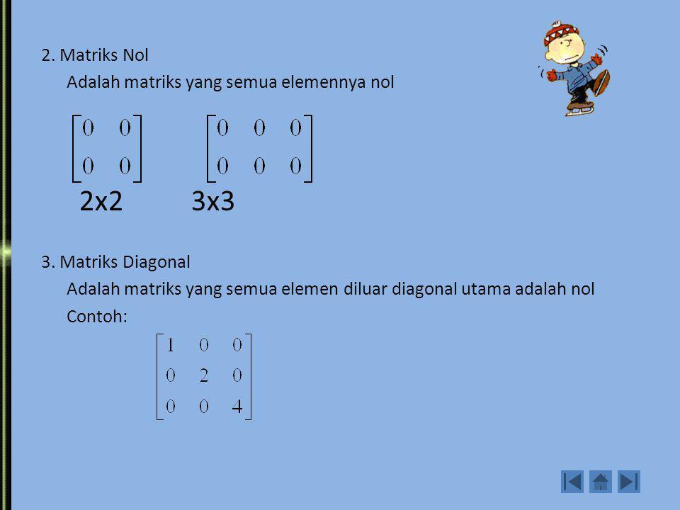 2. Matriks Nol Adalah matriks yang semua elemennya nol 2x2 3x3 3