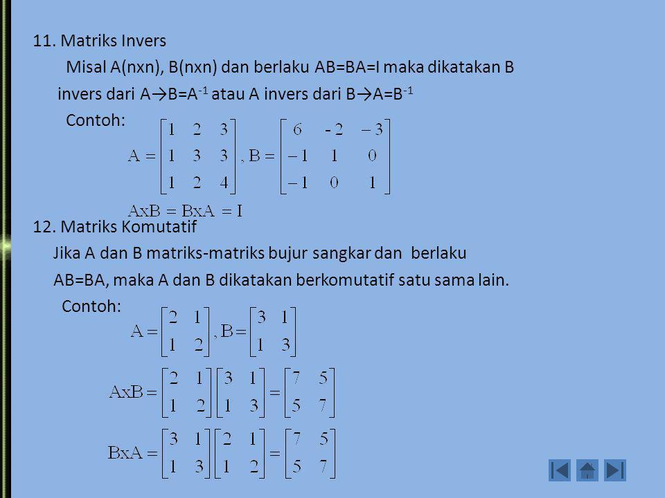11. Matriks Invers Misal A(nxn), B(nxn) dan berlaku AB=BA=I maka dikatakan B. invers dari A→B=A-1 atau A invers dari B→A=B-1.
