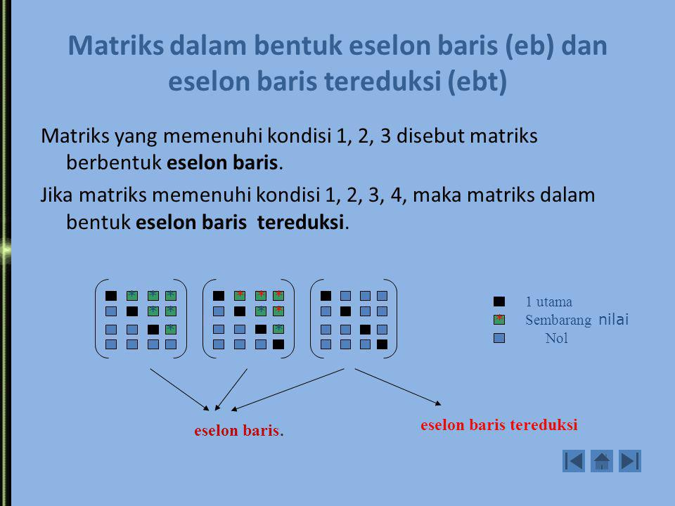Matriks dalam bentuk eselon baris (eb) dan eselon baris tereduksi (ebt)