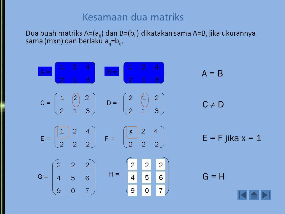 Kesamaan dua matriks A = B C ≠ D E = F jika x = 1 G = H