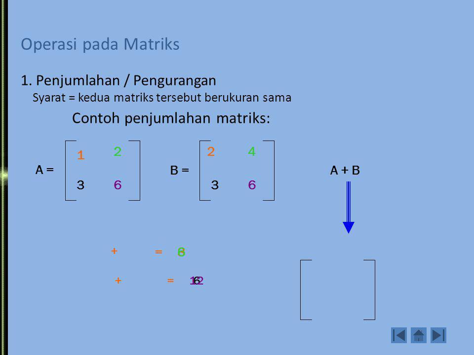 Contoh penjumlahan matriks: