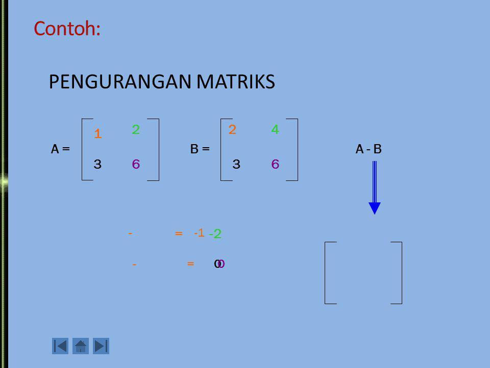Contoh: PENGURANGAN MATRIKS 2 2 4 1 A = B = A - B 3 6 3 6 - = -1 -2 -