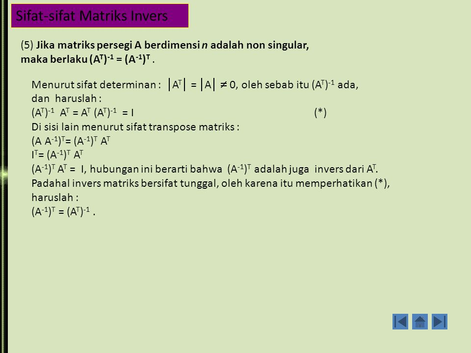 Sifat-sifat Matriks Invers