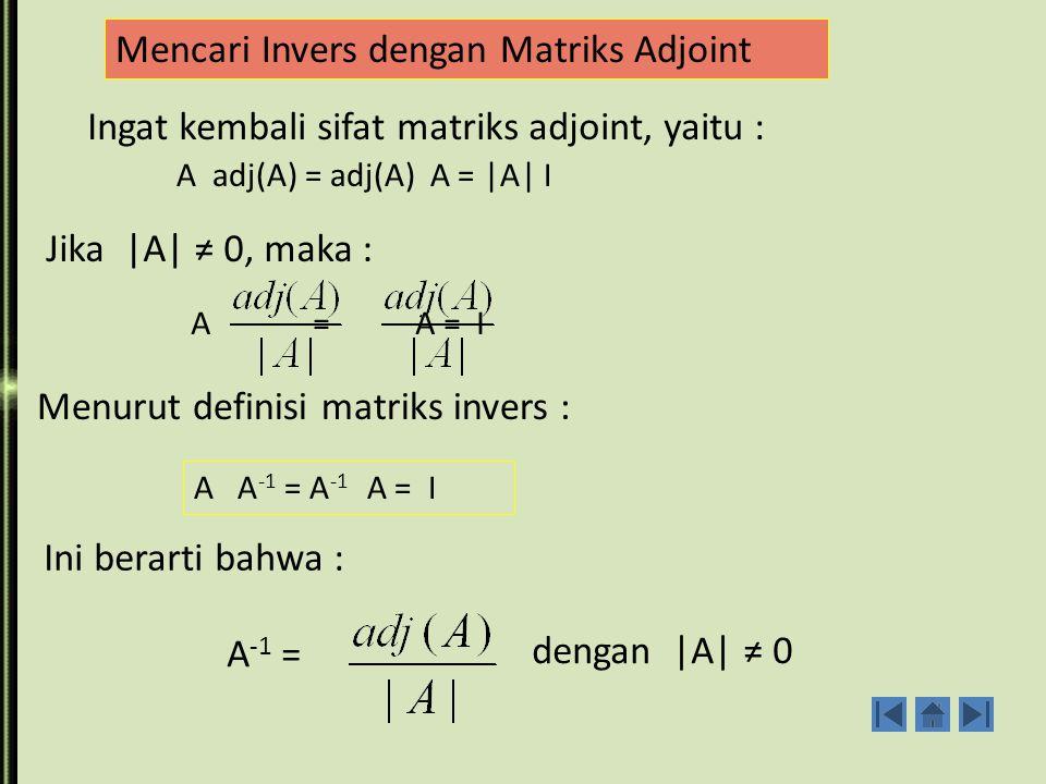 Mencari Invers dengan Matriks Adjoint