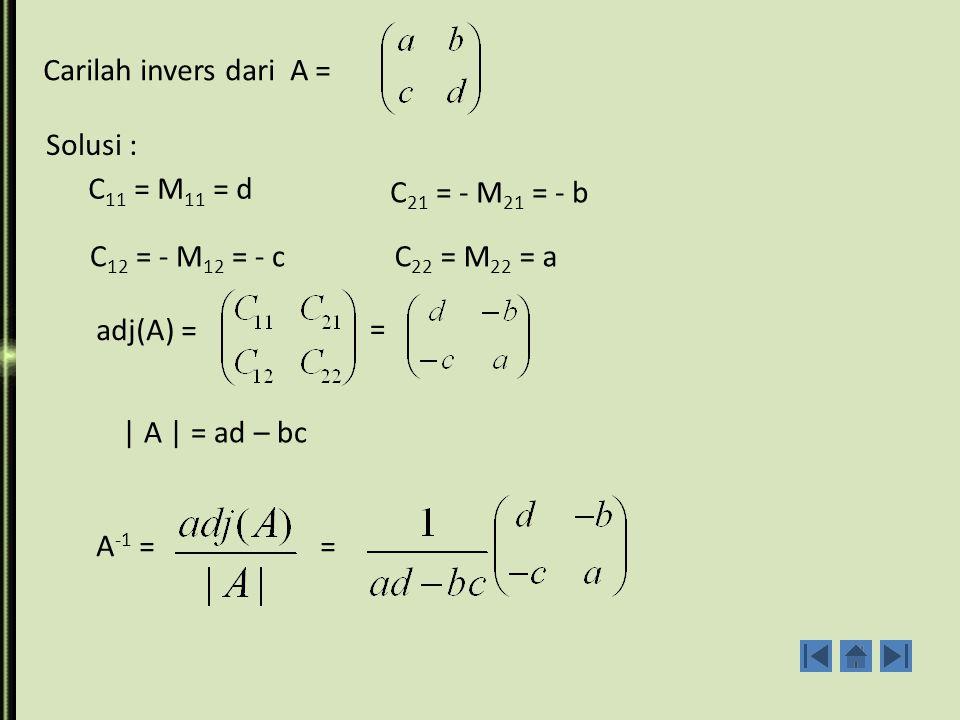 Carilah invers dari A = Solusi : C11 = M11 = d. C21 = - M21 = - b. C12 = - M12 = - c. C22 = M22 = a.
