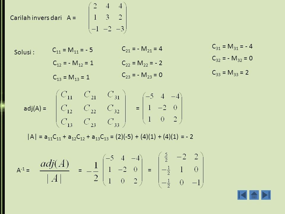 Carilah invers dari A = C31 = M31 = - 4. C11 = M11 = - 5. C21 = - M21 = 4. Solusi : C32 = - M32 = 0.