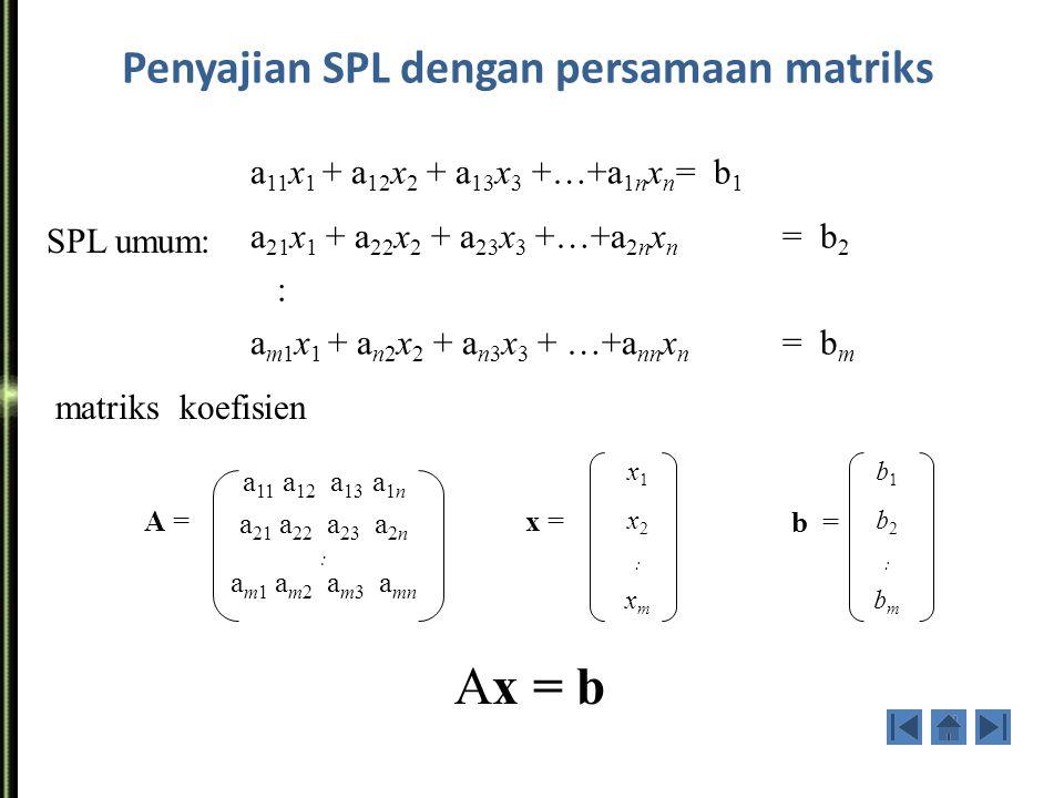Penyajian SPL dengan persamaan matriks