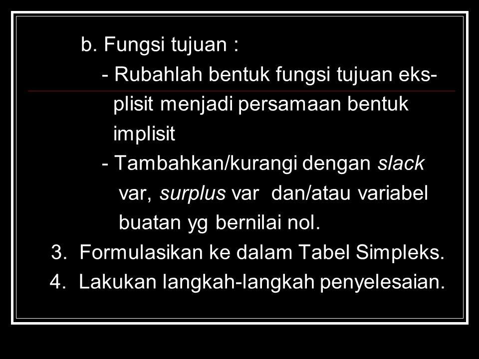 b. Fungsi tujuan : - Rubahlah bentuk fungsi tujuan eks- plisit menjadi persamaan bentuk. implisit.