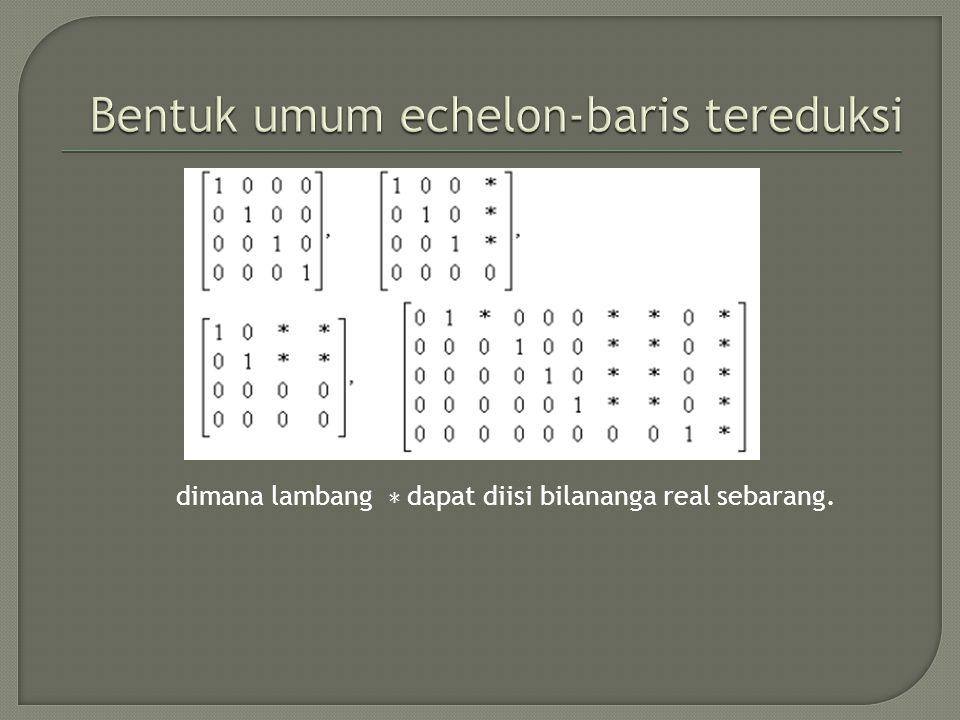 Bentuk umum echelon-baris tereduksi