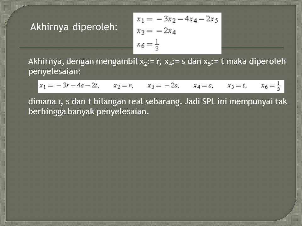 Akhirnya diperoleh: Akhirnya, dengan mengambil x2:= r, x4:= s dan x5:= t maka diperoleh. penyelesaian: