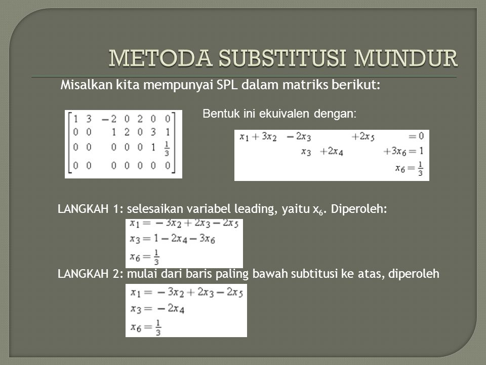 METODA SUBSTITUSI MUNDUR