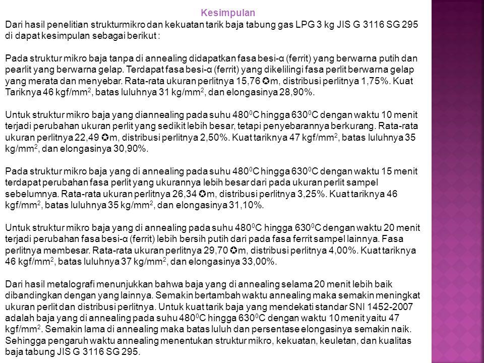 Kesimpulan Dari hasil penelitian strukturmikro dan kekuatan tarik baja tabung gas LPG 3 kg JIS G 3116 SG 295 di dapat kesimpulan sebagai berikut :