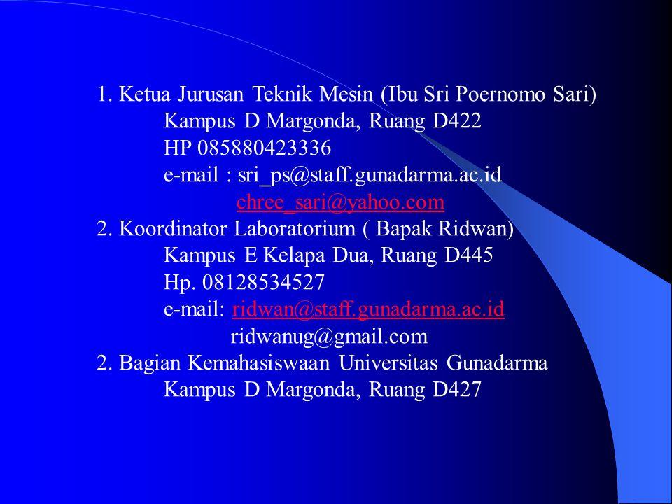 1. Ketua Jurusan Teknik Mesin (Ibu Sri Poernomo Sari)