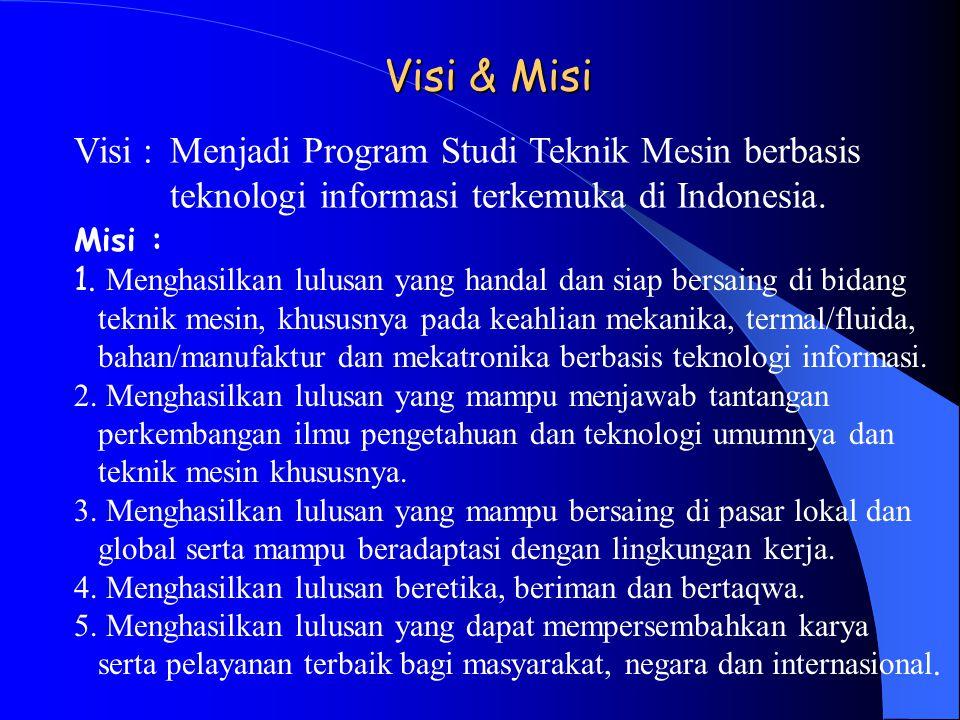 Visi & Misi Visi : Menjadi Program Studi Teknik Mesin berbasis teknologi informasi terkemuka di Indonesia.