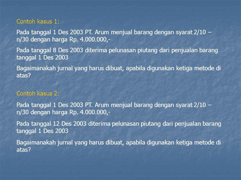 Contoh kasus 1: Pada tanggal 1 Des 2003 PT. Arum menjual barang dengan syarat 2/10 – n/30 dengan harga Rp. 4.000.000,-