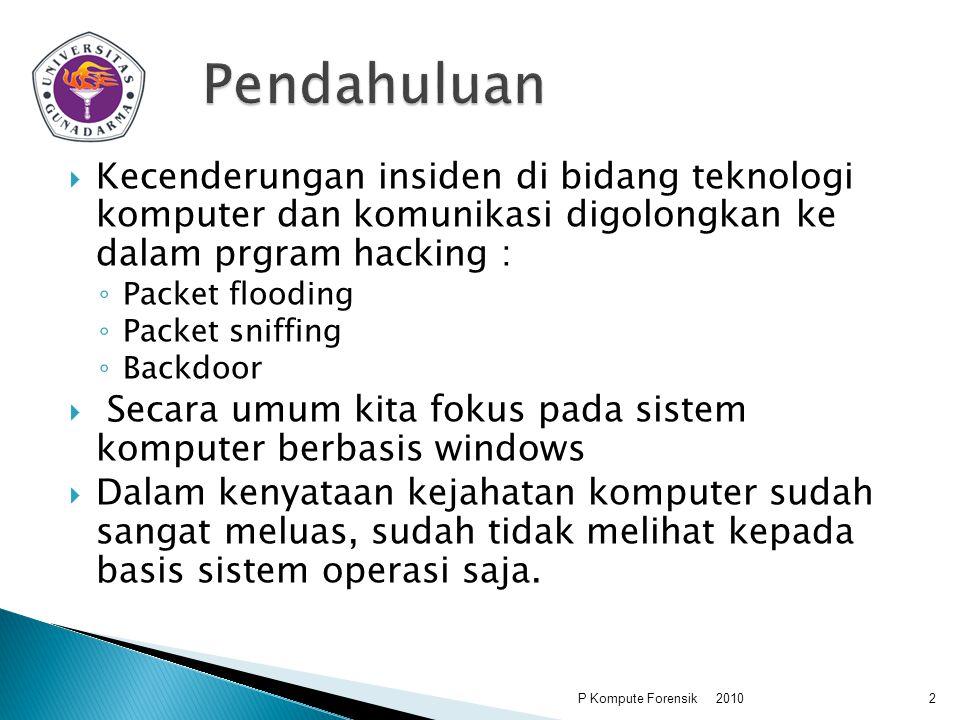Pendahuluan Kecenderungan insiden di bidang teknologi komputer dan komunikasi digolongkan ke dalam prgram hacking :