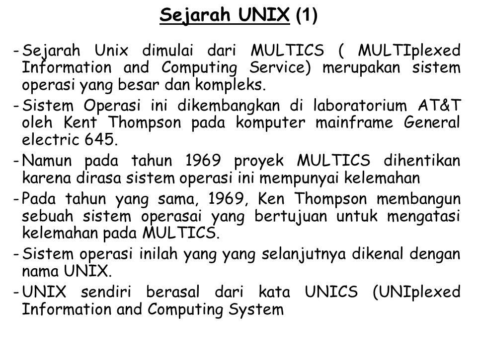 Sejarah UNIX (1) Sejarah Unix dimulai dari MULTICS ( MULTIplexed Information and Computing Service) merupakan sistem operasi yang besar dan kompleks.