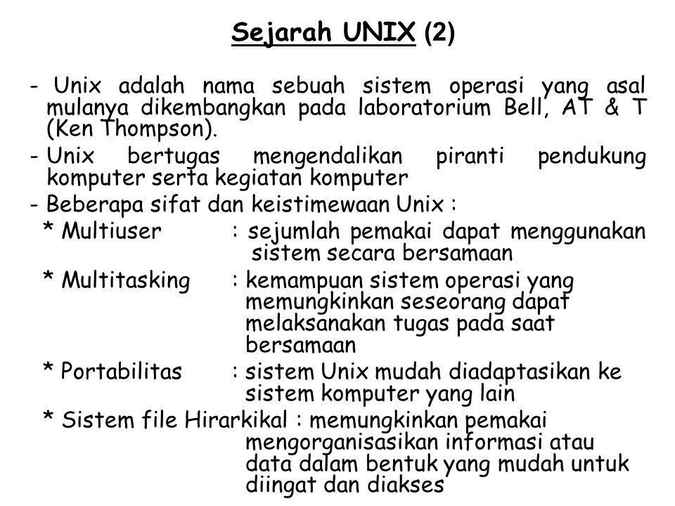Sejarah UNIX (2) Unix adalah nama sebuah sistem operasi yang asal mulanya dikembangkan pada laboratorium Bell, AT & T (Ken Thompson).