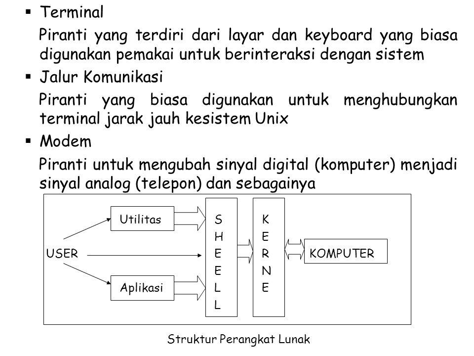 Terminal Piranti yang terdiri dari layar dan keyboard yang biasa digunakan pemakai untuk berinteraksi dengan sistem.
