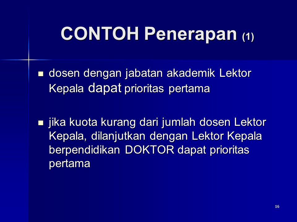 CONTOH Penerapan (1) dosen dengan jabatan akademik Lektor Kepala dapat prioritas pertama.