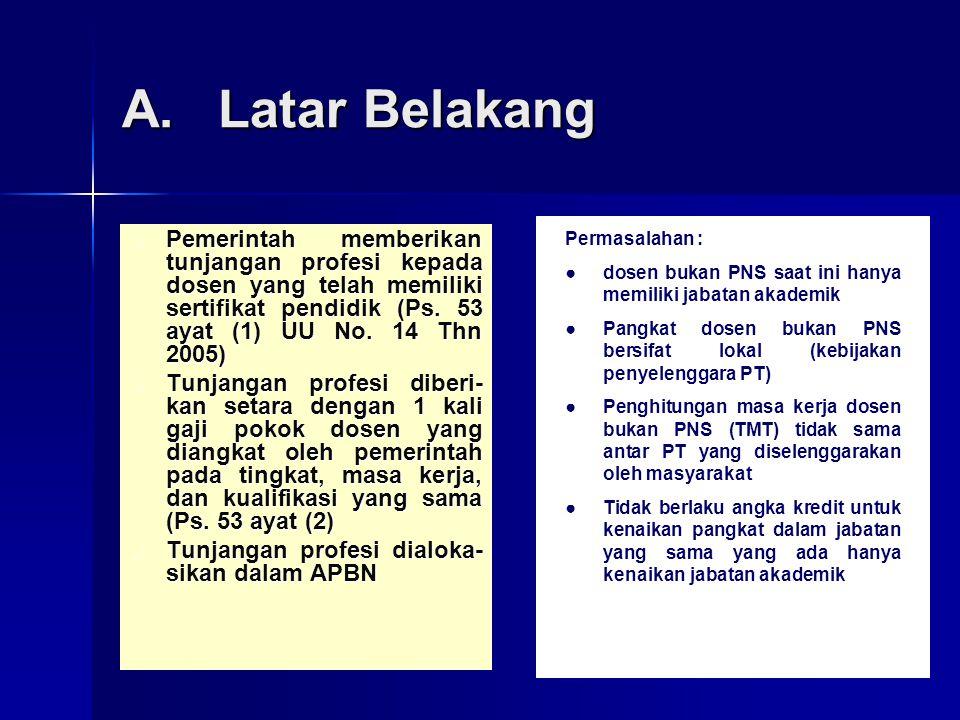 A. Latar Belakang Pemerintah memberikan tunjangan profesi kepada dosen yang telah memiliki sertifikat pendidik (Ps. 53 ayat (1) UU No. 14 Thn 2005)
