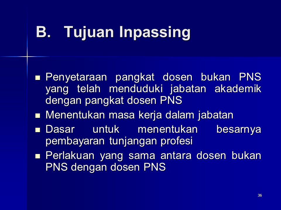 B. Tujuan Inpassing Penyetaraan pangkat dosen bukan PNS yang telah menduduki jabatan akademik dengan pangkat dosen PNS.