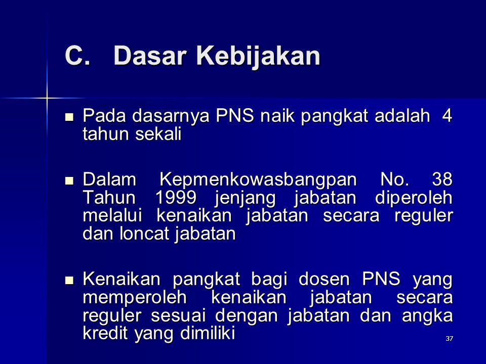 C. Dasar Kebijakan Pada dasarnya PNS naik pangkat adalah 4 tahun sekali.