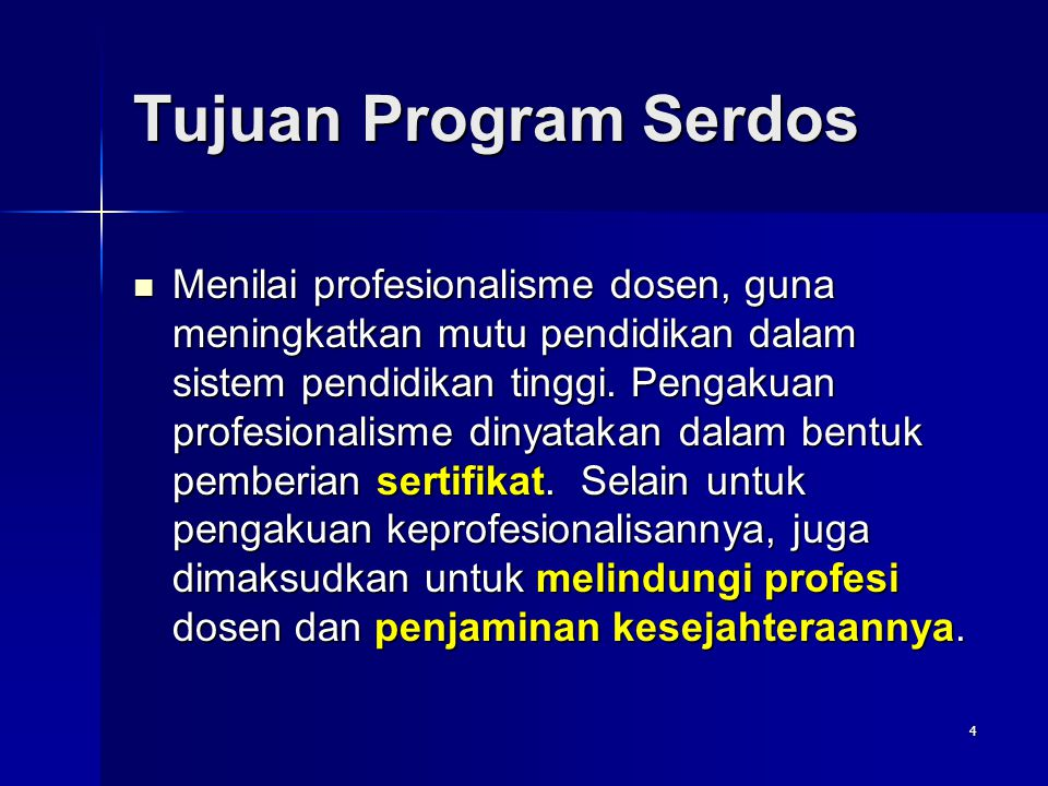 Tujuan Program Serdos