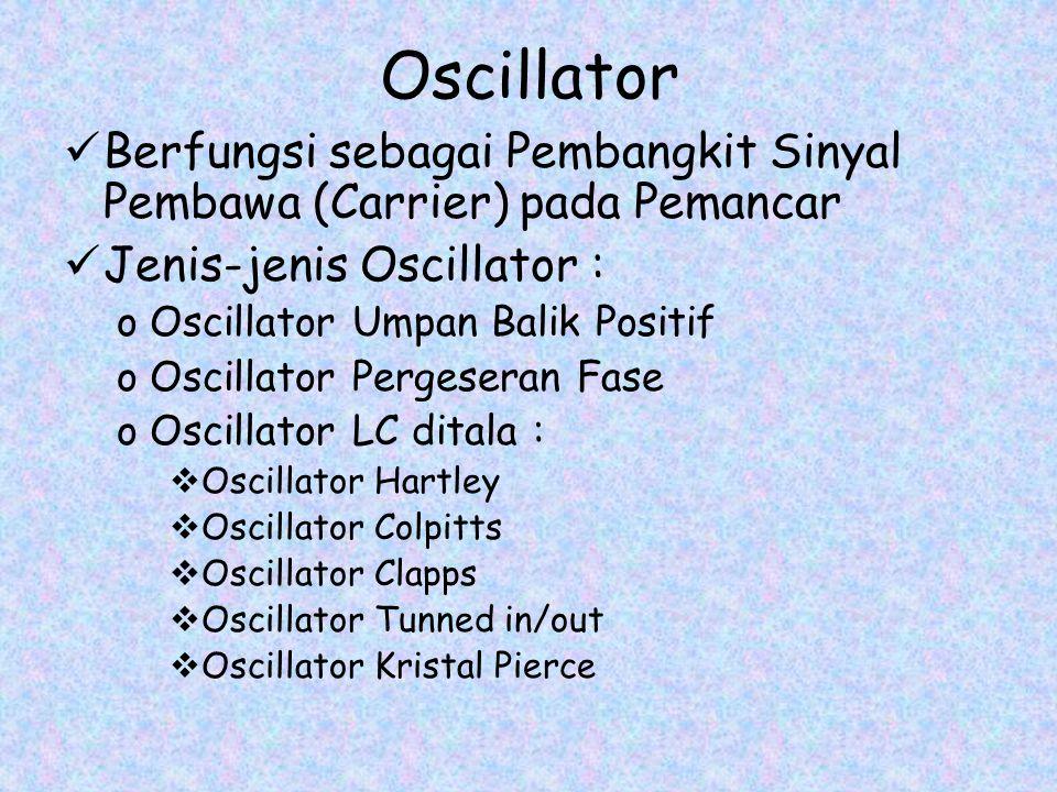 Oscillator Berfungsi sebagai Pembangkit Sinyal Pembawa (Carrier) pada Pemancar. Jenis-jenis Oscillator :