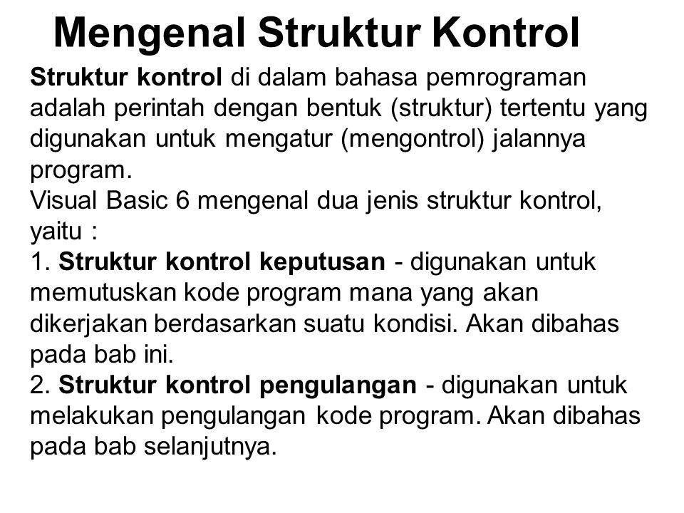Mengenal Struktur Kontrol
