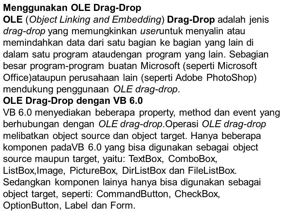 Menggunakan OLE Drag-Drop